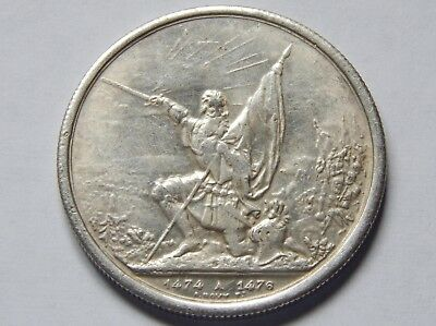 1874 St.gallen Swiss Silver 5 Francs Festival Shooting Thaler Coin Circulated
