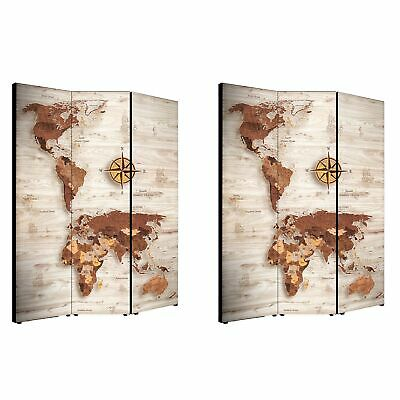 Separe bifacciale artistico divisorio 3 ante World s map brown 135,6x176 cm