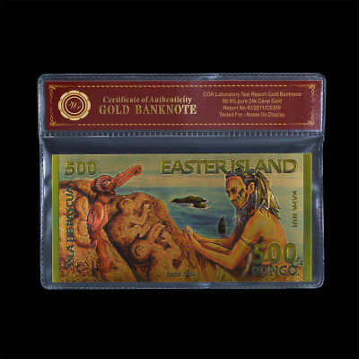 WR Colored Gold Easter Island 500 Rongo Banknote 2012 Polymer Note Party Gifts