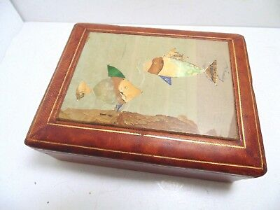 Vintage Italian Fine Pietra Dura Stone Inlay Box Jewelry Trinket Card Cigarette