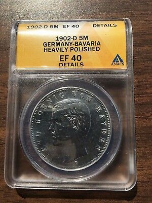 1902-D Bavaria Germany 5 Mark ANACS EF 40 Details Silver Coin German Empire