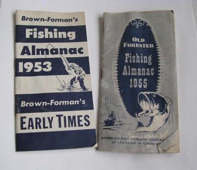 TWO (2) Old Whiskey Fishing Almanacs [1953 & 1955] Brown-Forman's & Old Forester