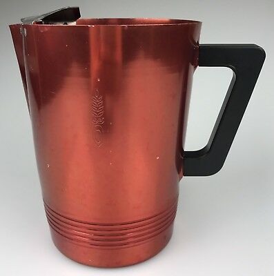 """Vintage Regal Supreme Quality Aluminum Metal Regal Ware Red Pitcher, 7 1/2"""" Tall"""