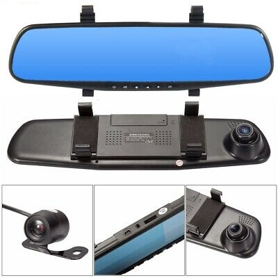 "Rear View Mirror Monitor HD 1080P 4.3"" Dual Lens DVR Dash Cam Reverse Camera Kit"