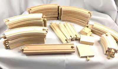 Wooden Train Track & Ends Brio Ikea Thomas Compatible Lot 33 Pieces