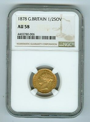 1878 Great Britain 1/2 Sovereign NGC AU58