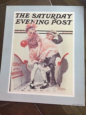 "Saturday Evening Post Sepco Print Cave Winds 1920 Norman Rockwell 10"" x 12"""