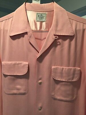 "Vtg 1950s Pink Gabardine Rockabilly Shirt Loop Flap Large Size 16 1/2"" ELVIS VLV"
