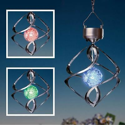 New Solar Powered Hanging Colour Changing Saturn Spinner Light Wind Garden Light