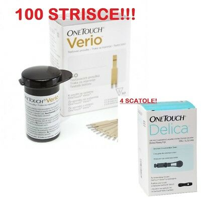 One Touch Verio 100 Strisce Scad.02/2021 + 100 Aghi One T. Delica Scad.09/2023