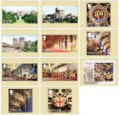 2017 Windsor Castle PHQ 425 - Mint Cards - Set of 11 Royal Mail Post Cards