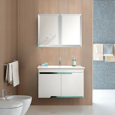 750 x 720x150mm Bathroom Mirror Cabinet Shaving Medicine Bevel Edge White Gloss