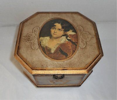 Vintage Wood Toleware Music Jewelry Box With Top Tray
