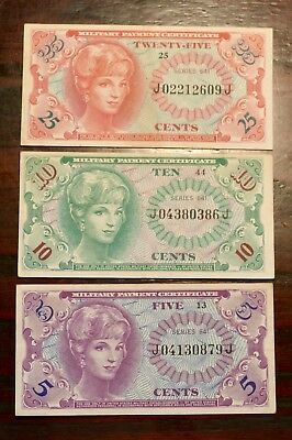 Set of 3 series 641 US Military Payment Certificates 5, 10, 25 cents