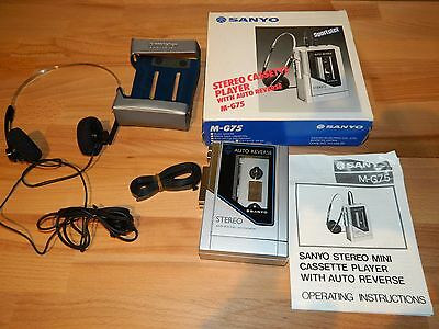 SANYO Stereo Cassette Player M-G75 NEW IN BOX auto reverse vintage walkman 1984