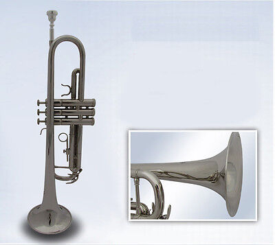New Nickel Plated Professional B Flat Brass Musical Instruments Trumpet #