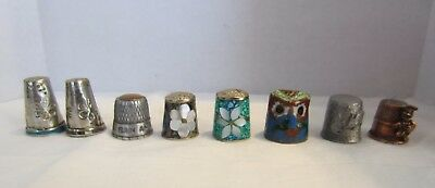 Vintage assorted  thimbles set of 8-assorted shapes and sizes