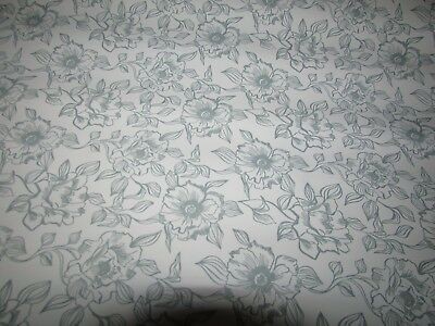 "NEW - 1.5 YARD ROLL X 18"" Gray White Floral Shelf Liner Paper Contact Paper"