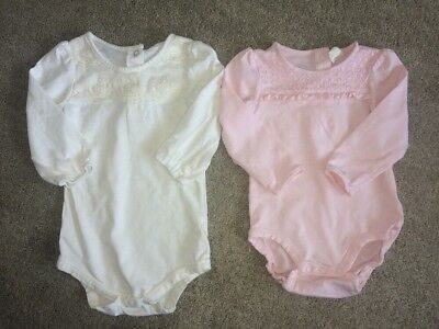 9-12 Months H&M And Matalan Long Sleeved Vest Top Bundle, White And Pink