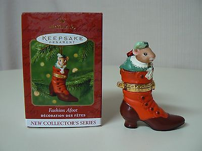 Hallmark Ornament 2000 FASHION AFOOT #1 in Series HINGED BOX Mouse in Boot NEW