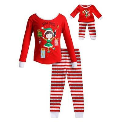 13ce616988 Dollie Me Girl 4-14 and Doll Matching Christmas Elf Pajamas Outfit American  Girl