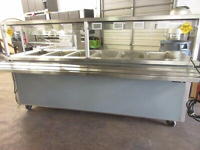 """Delfield 96"""" Mobile Cafeteria Style 6-Well Heated Hot Food Buffet"""