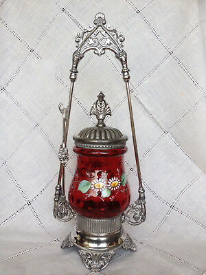 Antique Victorian PICKLE CASTOR Cranberry Coindot INSERT in Silverplate holder