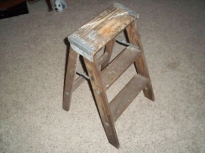 Vintage Wooden 2 Step Ladder Plant Stand Foot Step Stool Home Decor