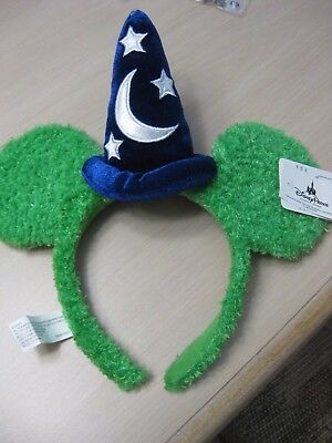 Disney World Sorcerer Mickey Ears Headband Green Fuzzy Soft Brand New!!!