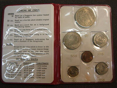1967 Singapore 6 Coin Uncirculated Mint Set in Red Holder $1 50 20 10 5 1 cent
