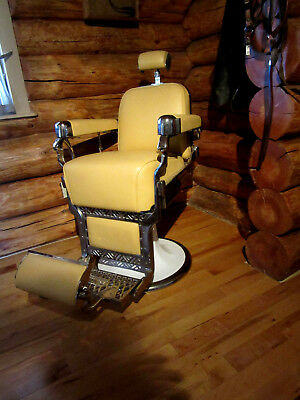 Antique Belmont barber chair, fully restored new leather and chrome