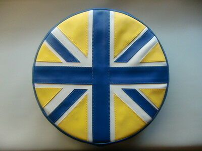 Blue Yellow White Union Flag Scooter Wheel Cover