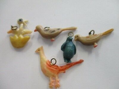 Vintage Cracker Jack  lot of 5 celluloid Bird charms w/metal rings