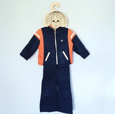 70s Flared Snow Suit 2 Piece Ski Jacket Retro Overalls Dungarees 2T 3T FREE SHIP