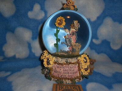 Vintage Boyds Bears Liddy Pearl Musical Water Globe How Does Your Garden Grow