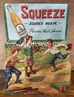 Squeeze Scores Again Flavors Please Baseball Game Orange Soda Pop Counter Sign