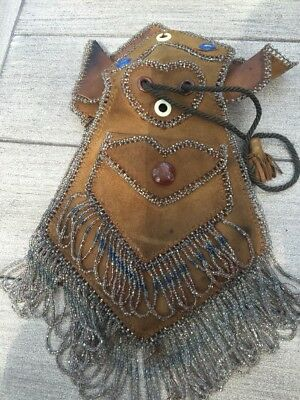 Antique Leather Beaded  Purse Bag