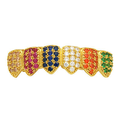 18K Gold Plated High Quality Multi Color CZ Bottom GRILLZ Teeth Grills