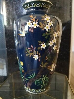 Inaba Blue Japanese Cloisonne Vase Silver Trim Cherry Blossoms Birds Design
