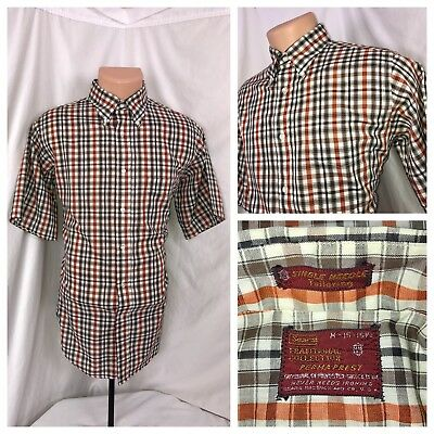 SEARS Mens Vintage 40s 50s 60s Plaid Work Shirt Perma Prest Plaid M 15/15.5 USA