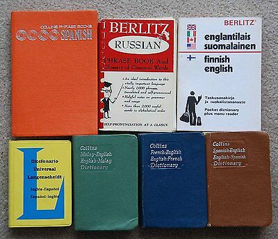 Various vintage Pocket Language Dictionaries Travel Phrase Books