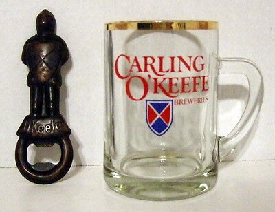 Vintage O'keefe Knight In Armour Bottle Opener With 14 Oz. Beer Mug