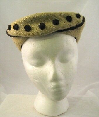 VINTAGE 1940s-5's women's wool tweed hat high fashion Jaccard NY Paris Dewees