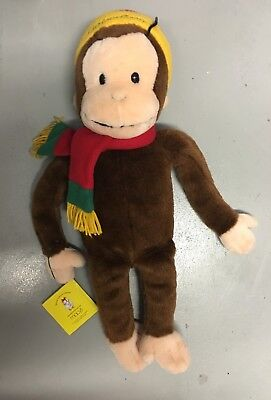 "CURIOUS GEORGE Plush Large 24"" Macys Stuffed Toy Monkey Hat Scarf With Book"