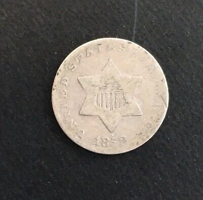 1852  Silver 3 Cents