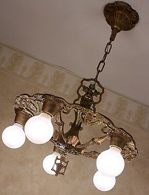 RARE 1920's CAST IRON ANTIQUE VINTAGE Ceiling Light Fixture CHANDELIER