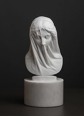 MARBLE bust of the Veiled Virgin Mary by Strazza carved statue artist sculpture