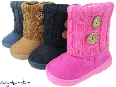 Baby toddler girls faux suede boots shoes 3-8 side zipper