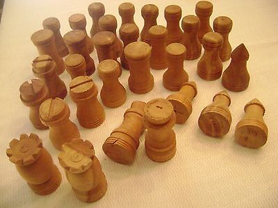 32-Vintage Handmade Wood Turned Carved Primitive Rustic Chess Pieces Cabin Decor