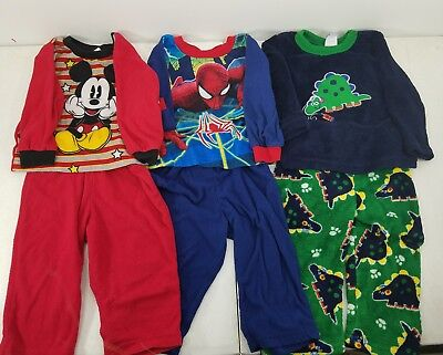 Pre Owned Lot Of 3 Infant Boys Pajama Size 18 Months Spider Man & Mickey PJ s